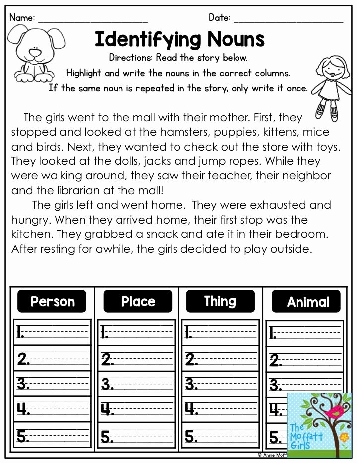 Identifying Nouns and Verbs Worksheets Printable Identifying Nouns Read the Short Story Highlight the Nouns