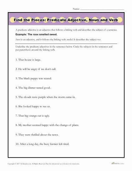 Identifying Nouns and Verbs Worksheets top Find the Pieces Predicate Adjective Noun and Verb