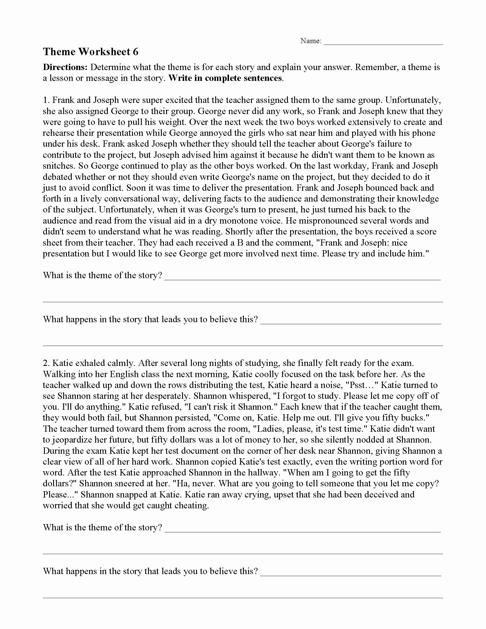 Identifying theme In Literature Worksheets Best Of theme or Author S Message Worksheets