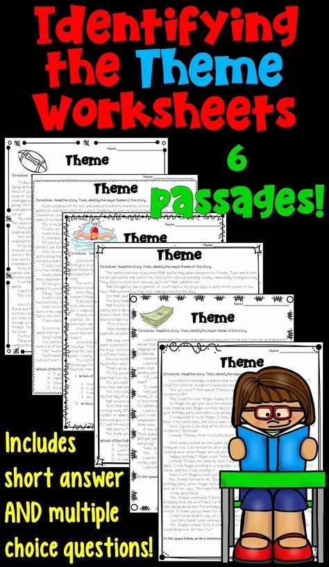Identifying theme In Literature Worksheets Inspirational Identifying the theme Worksheet Packet these 6 Worksheets