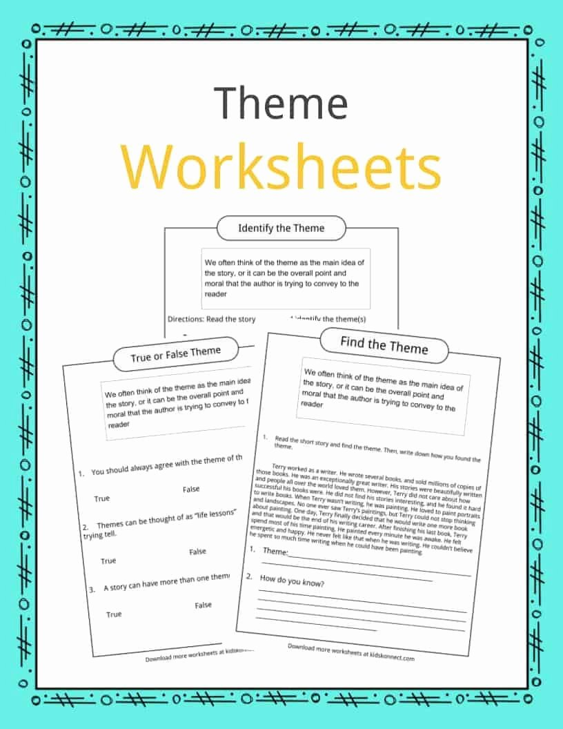 Identifying theme In Literature Worksheets New theme Worksheets Examples & Description for Kids