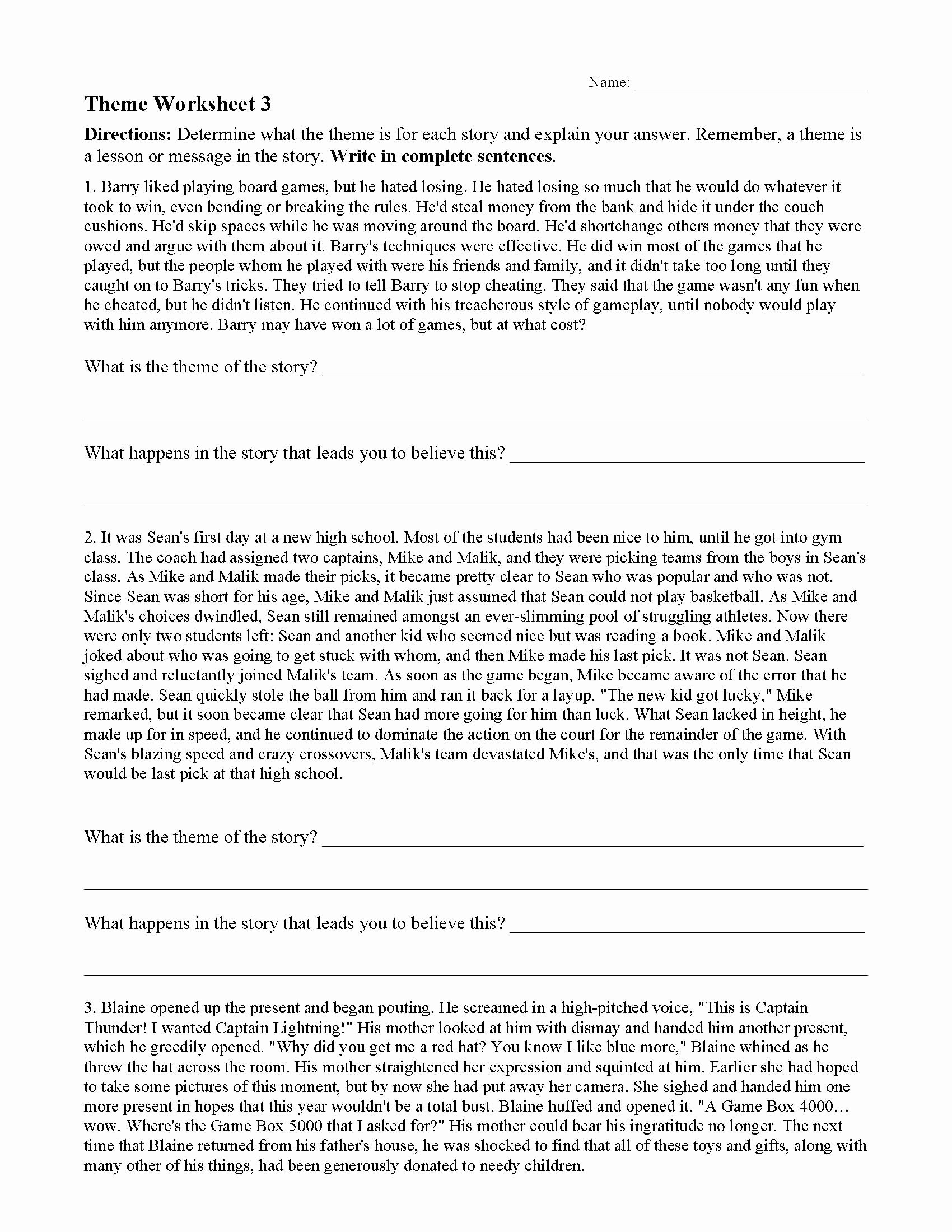 Identifying theme In Literature Worksheets Printable theme or Author S Message Worksheets