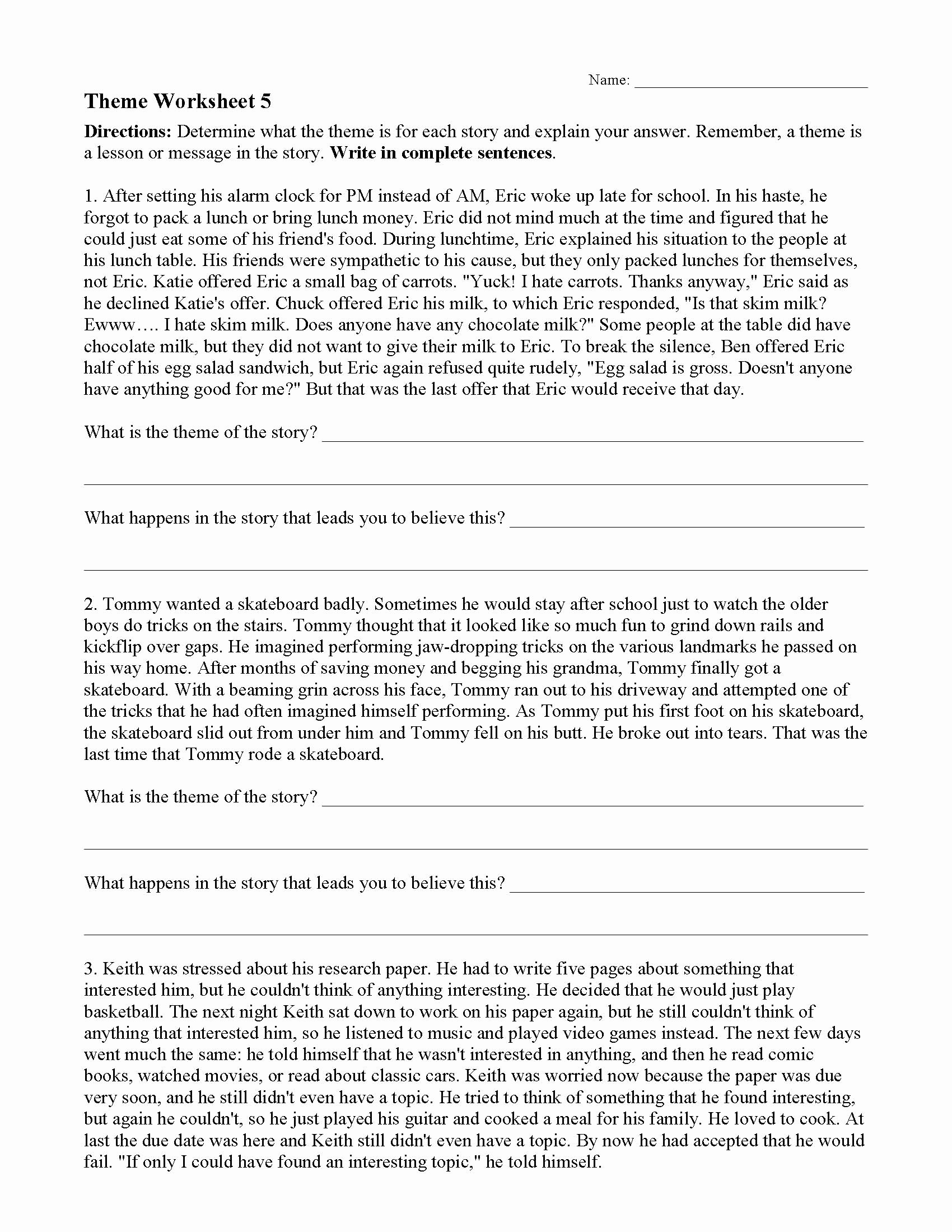 Identifying theme In Literature Worksheets top theme or Author S Message Worksheets