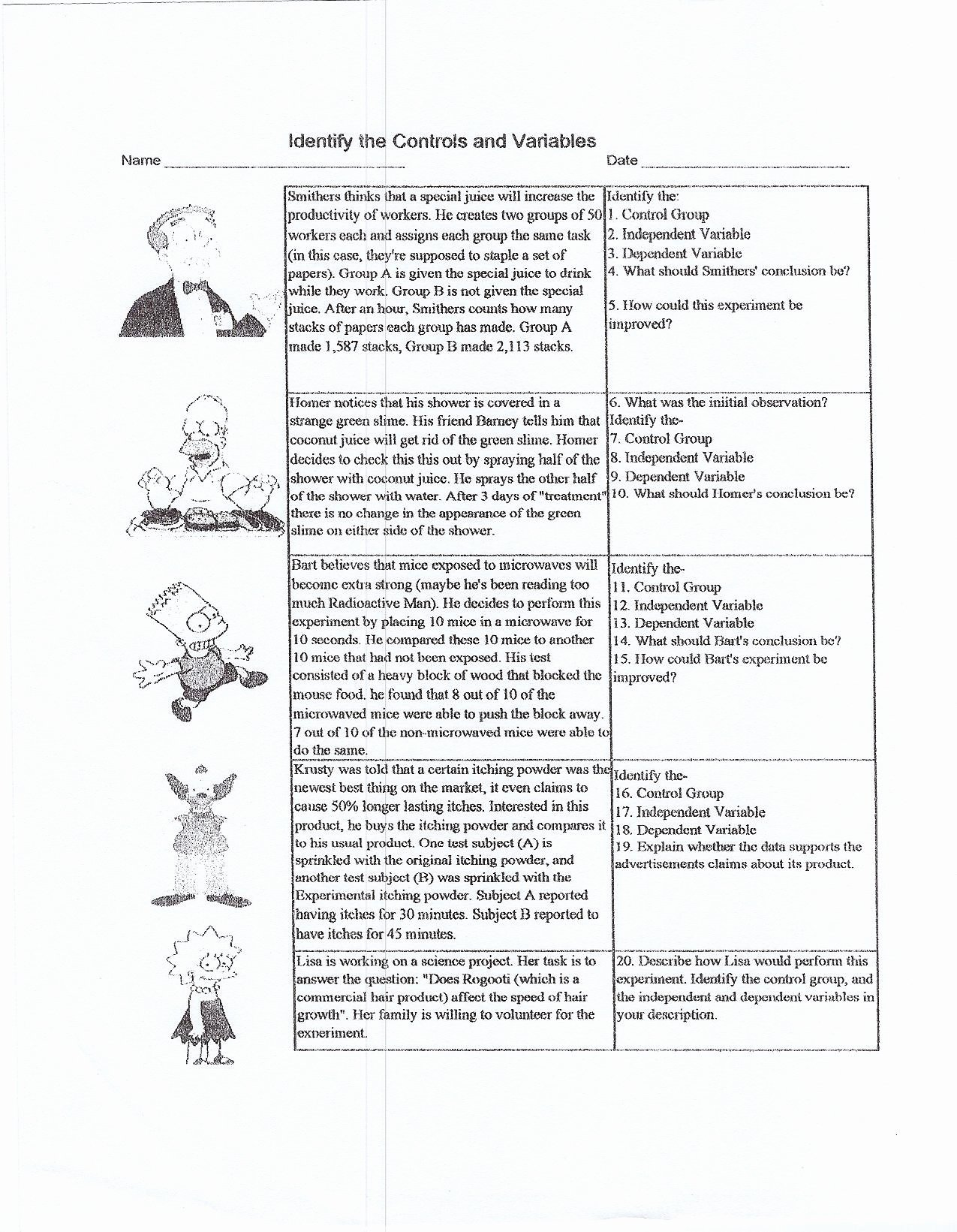 Identifying Variables Worksheet Middle School Best Of Independent and Dependent Variables Worksheet Middle School