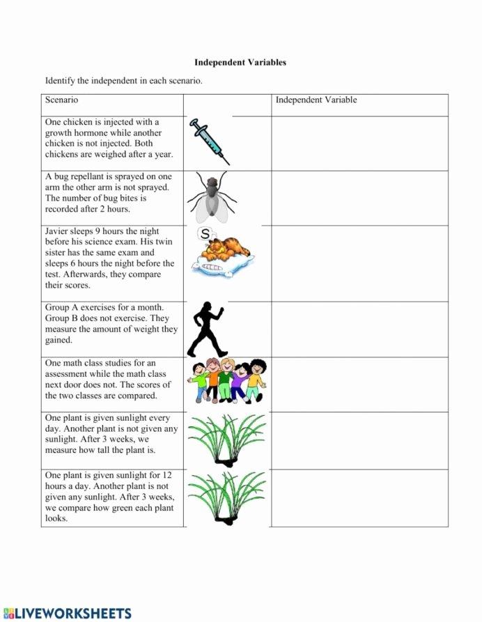 Identifying Variables Worksheet Middle School Free Identifying Independent Variables Interactive Worksheet