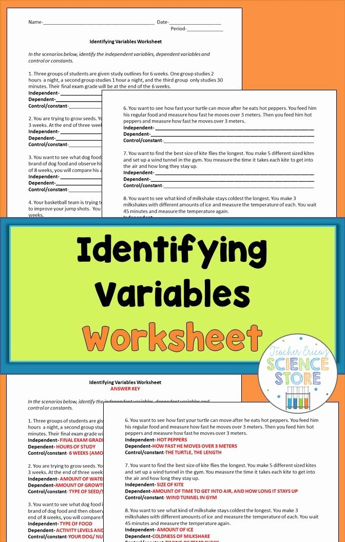 Identifying Variables Worksheet Middle School Fresh Identifying Variables Worksheet