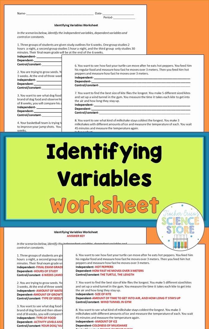 Identifying Variables Worksheet Middle School Fresh Identifying Variables Worksheet