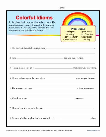 Idiom Worksheets for 2nd Grade Best Of Colorful Idioms