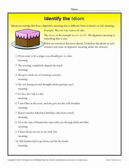 Idiom Worksheets for 2nd Grade New Identify the Idioms 4th and 5th Grade Worksheets