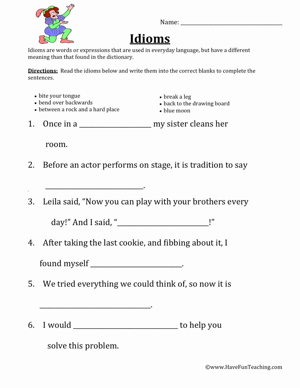 Idiom Worksheets for 2nd Grade Printable Idiom Worksheets