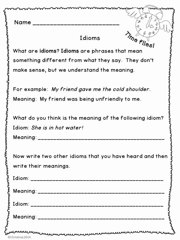 "Idiom Worksheets for 2nd Grade top the Best Of Teacher Entrepreneurs Language Arts ""idioms"