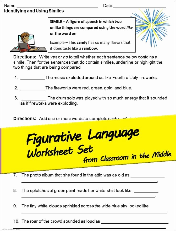 Imagery Worksheets for Middle School Free Figurative Language and Imagery Activity Sheets for Upper