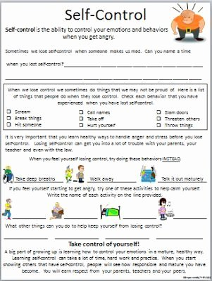 Impulse Control Worksheets for Teens Lovely Self Control Worksheet … …