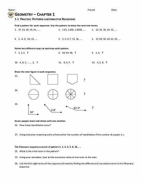 Inductive and Deductive Reasoning Worksheet Kids Patterns and Inductive Reasoning Worksheet and Answers
