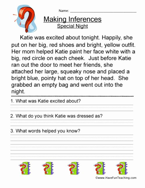 Inference Worksheets for 4th Grade Lovely Inference Worksheets • Have Fun Teaching