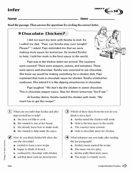 Inference Worksheets for 4th Grade New Infer Chocolate Chicken Worksheet for 4th 5th Grade