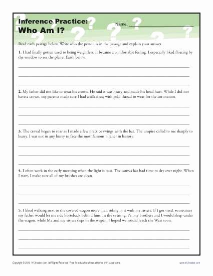 Inference Worksheets for 4th Grade New where Am I