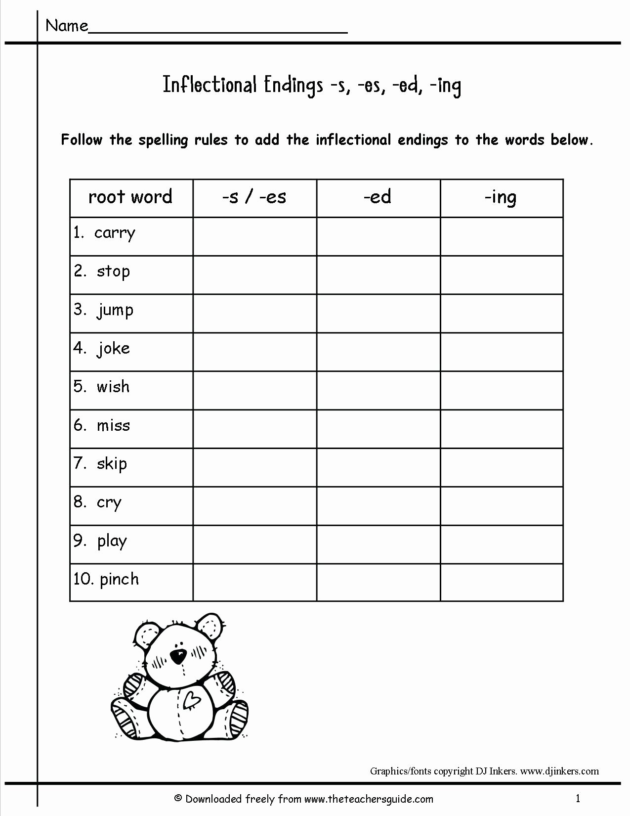 Inflected Endings Worksheets 2nd Grade Free Ed Ing Ending Worksheets