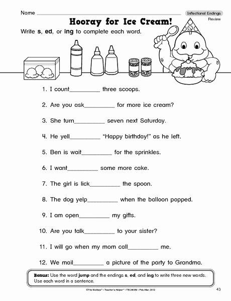 Inflected Endings Worksheets 2nd Grade Fresh Language Arts Worksheet Inflectional Endings the Mailbox