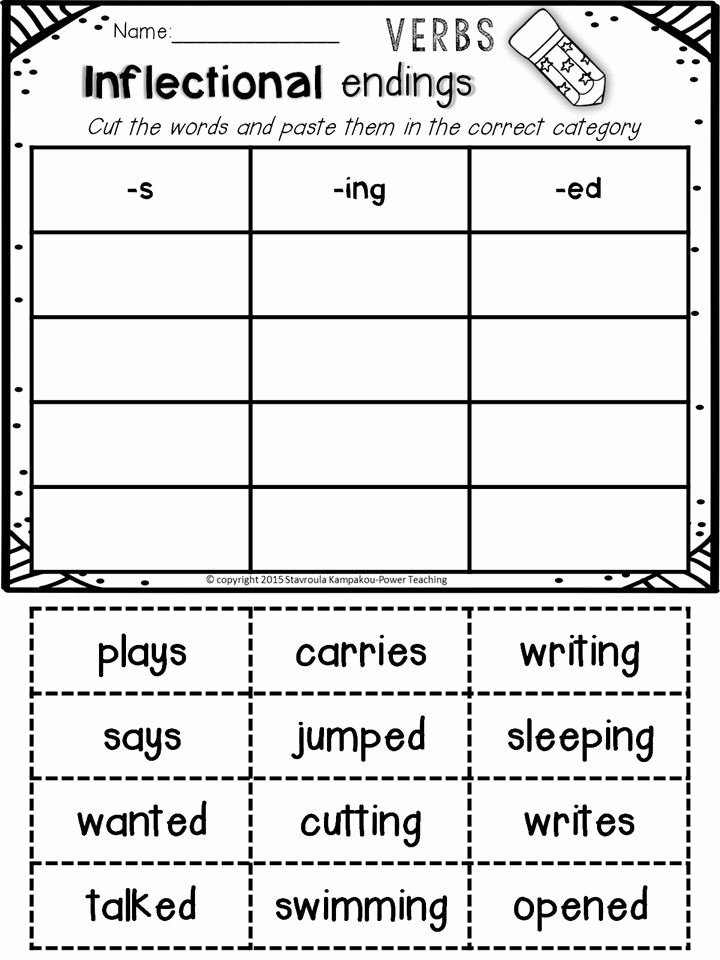 Inflectional Endings Worksheets 2nd Grade Free Inflectional Endings