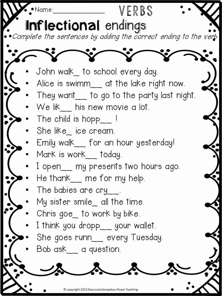 Inflectional Endings Worksheets 2nd Grade New Inflectional Endings Worksheets 2nd Grade In 2020