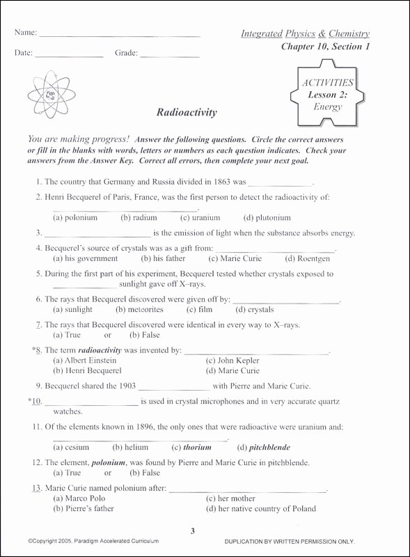 Integrated Physics and Chemistry Worksheets Free Integrated Physics and Chemistry Chapter 10 Activities