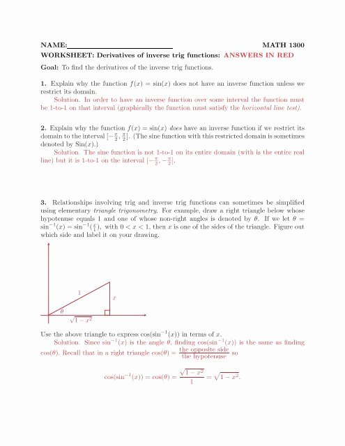 Inverse Functions Worksheet with Answers Ideas Name Math 1300 Worksheet Derivatives Of Inverse Trig Functions