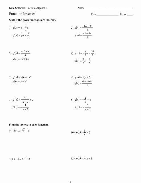 Inverse Functions Worksheet with Answers top Algebra 2 Inverse Functions Worksheet Promotiontablecovers