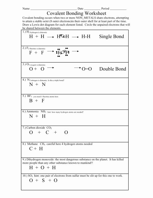 Ionic and Covalent Bonds Worksheet Kids Types Of Bonds and Covalent Bonding Worksheet Colina