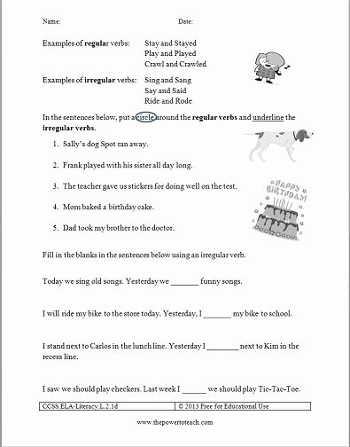 Irregular Verbs Worksheet 2nd Grade Fresh Free Irregular Verbs Worksheet for Second Grade Mon Core