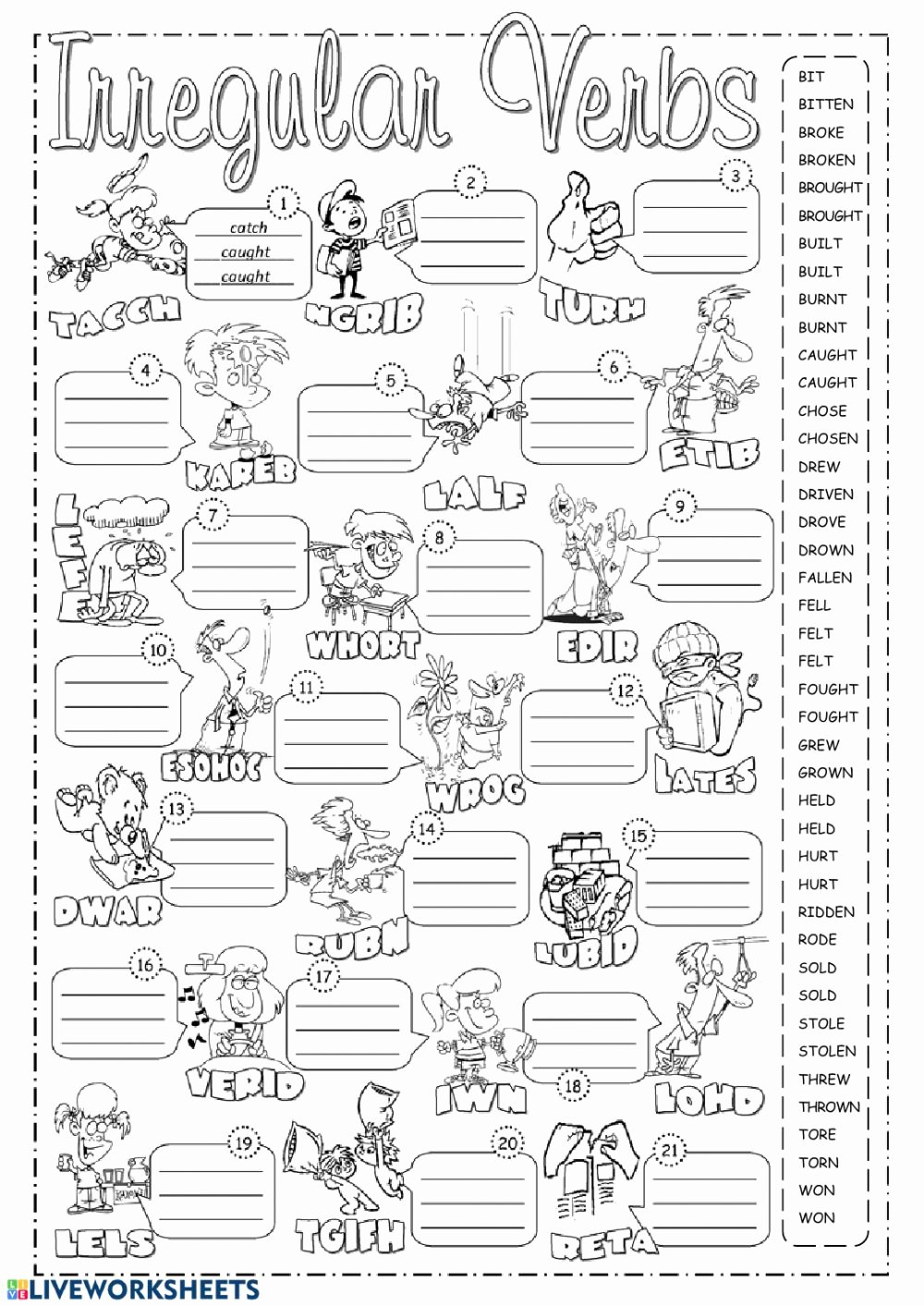 Irregular Verbs Worksheet 2nd Grade Inspirational Irregular Verbs Online Exercise and Pdf by Victor