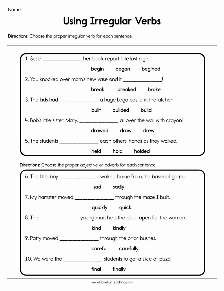 Irregular Verbs Worksheet 2nd Grade Inspirational Use Irregular Verbs Worksheet In 2020