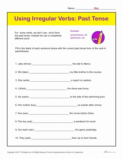 Irregular Verbs Worksheet 2nd Grade Printable Using Irregular Verbs Past Tense