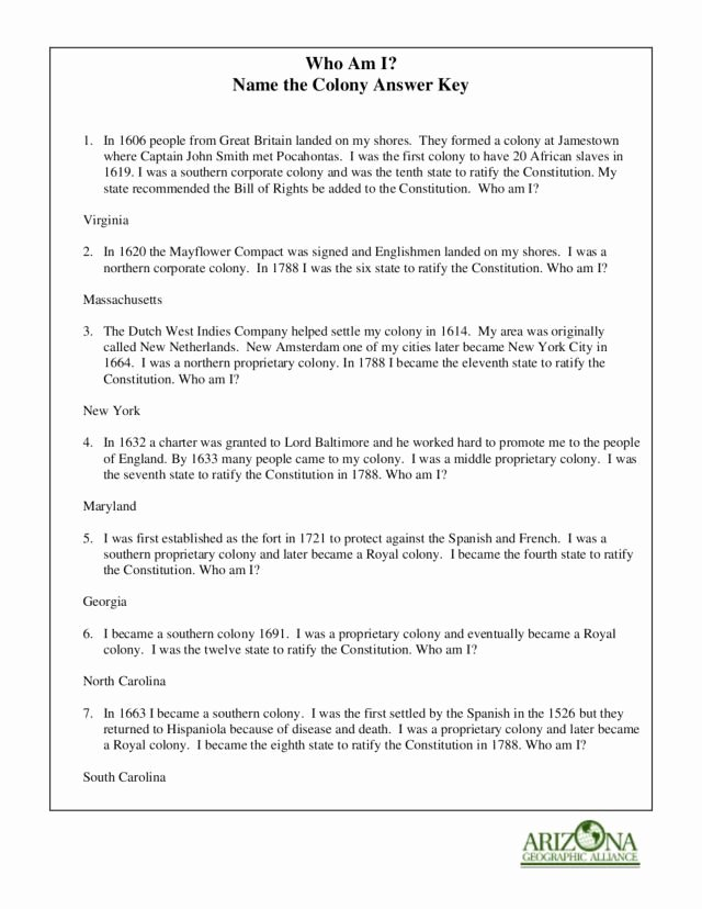 Jamestown Colony Worksheet 5th Grade Free who Am I Name the Colony 8th 11th Grade Worksheet