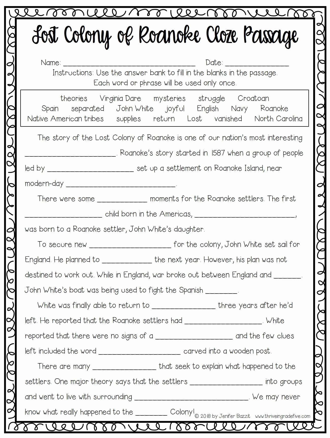 Jamestown Colony Worksheet 5th Grade Kids Lost Colony Of Roanoke Activity Free
