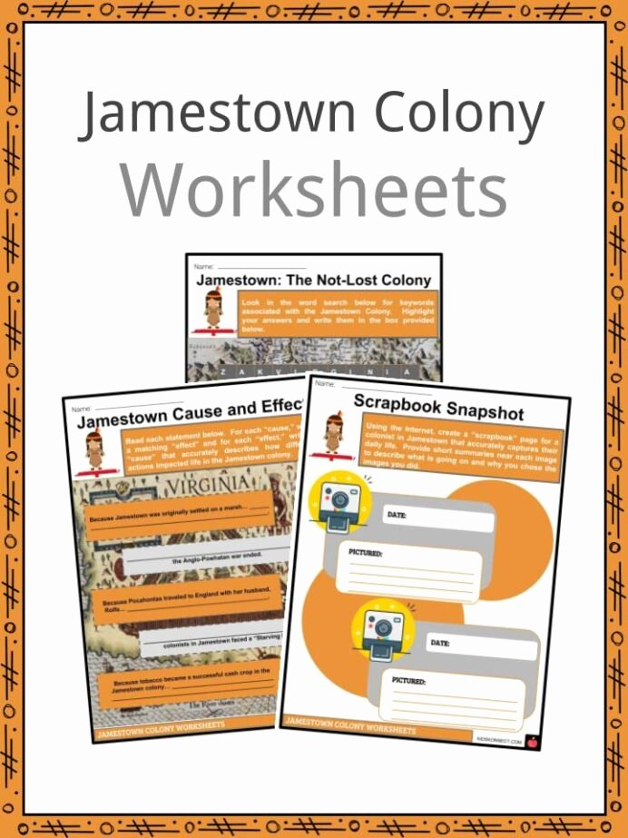 Jamestown Colony Worksheet 5th Grade Printable Jamestown Colony Facts Worksheets Colonial Success History