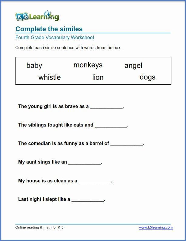 K5 Learning Math Grade 4 Lovely Grade Vocabulary Worksheets Printable and organized by