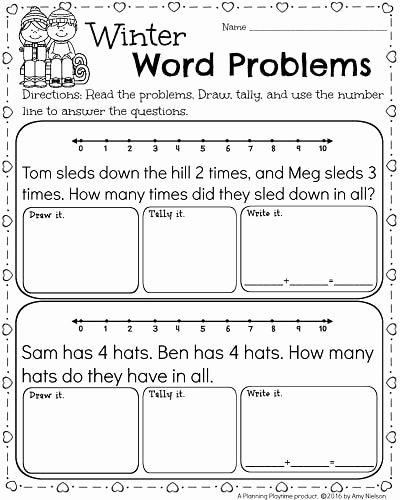 Kindergarten Addition Word Problems Worksheets Kids Kindergarten Math and Literacy Worksheets for February