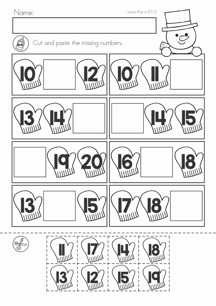 Kindergarten Cut and Paste Worksheets Kids Winter Math Worksheets Activities No Prep Cut and Paste
