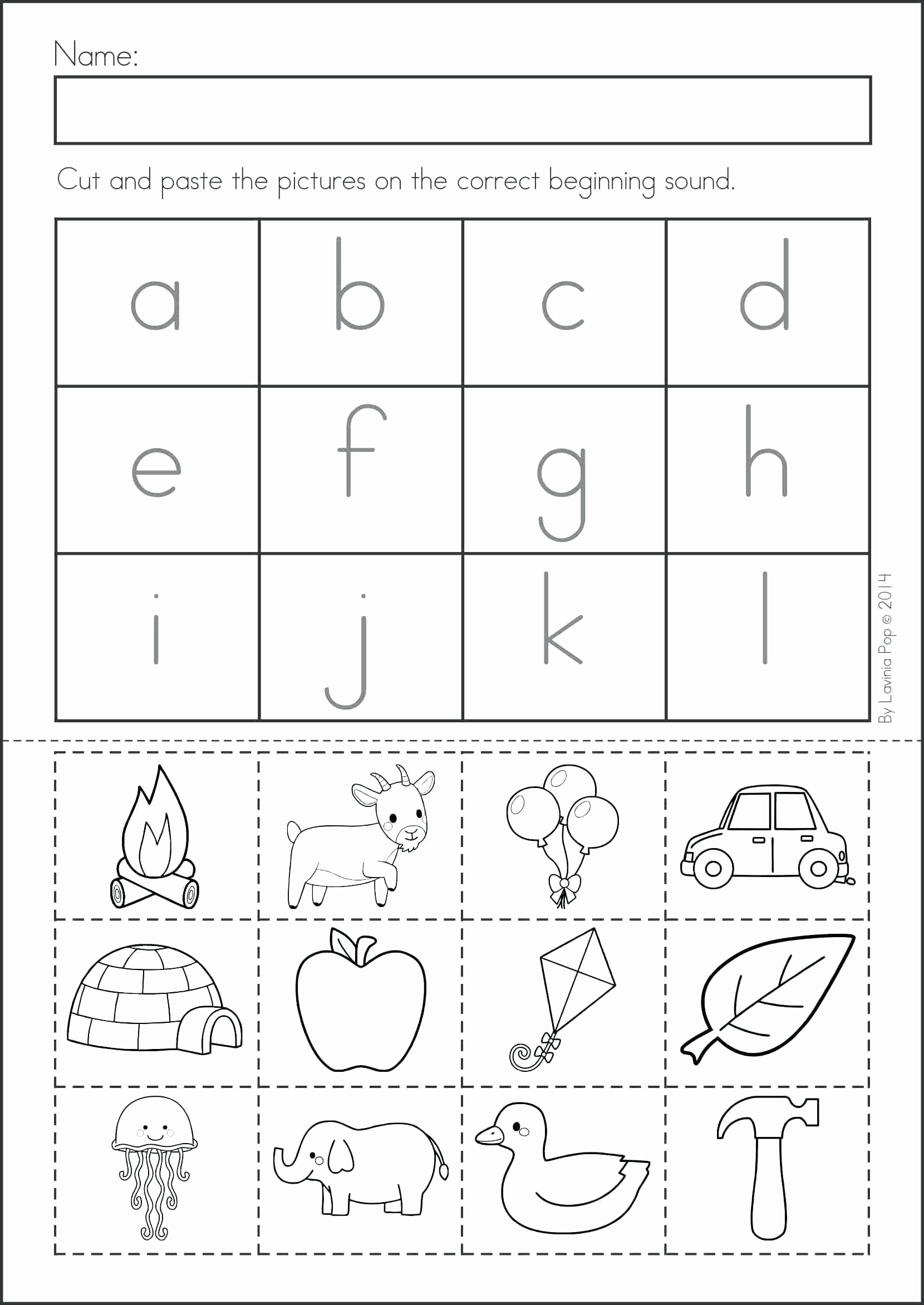 Kindergarten Cut and Paste Worksheets Printable Pin On A