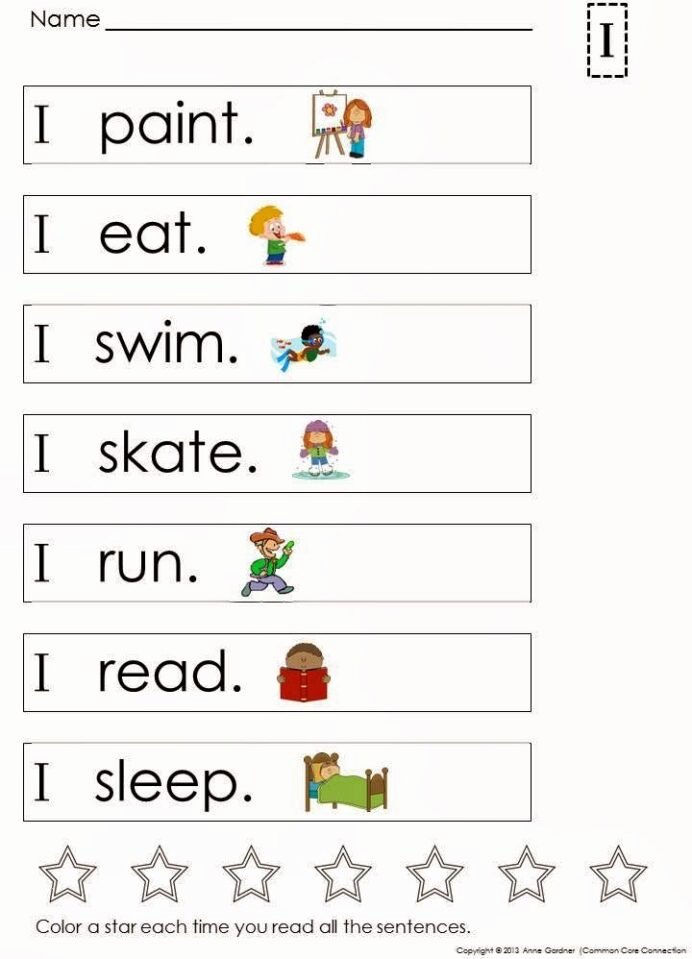 Kindergarten Reading Worksheets Sight Words Fresh Building and Reading Simple Sentences Sight Words