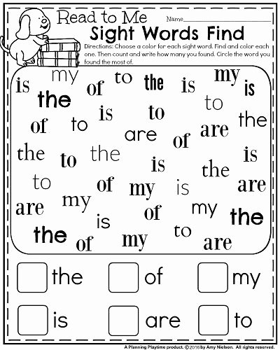 Kindergarten Reading Worksheets Sight Words Printable Back to School Kindergarten Worksheets Planning Playtime