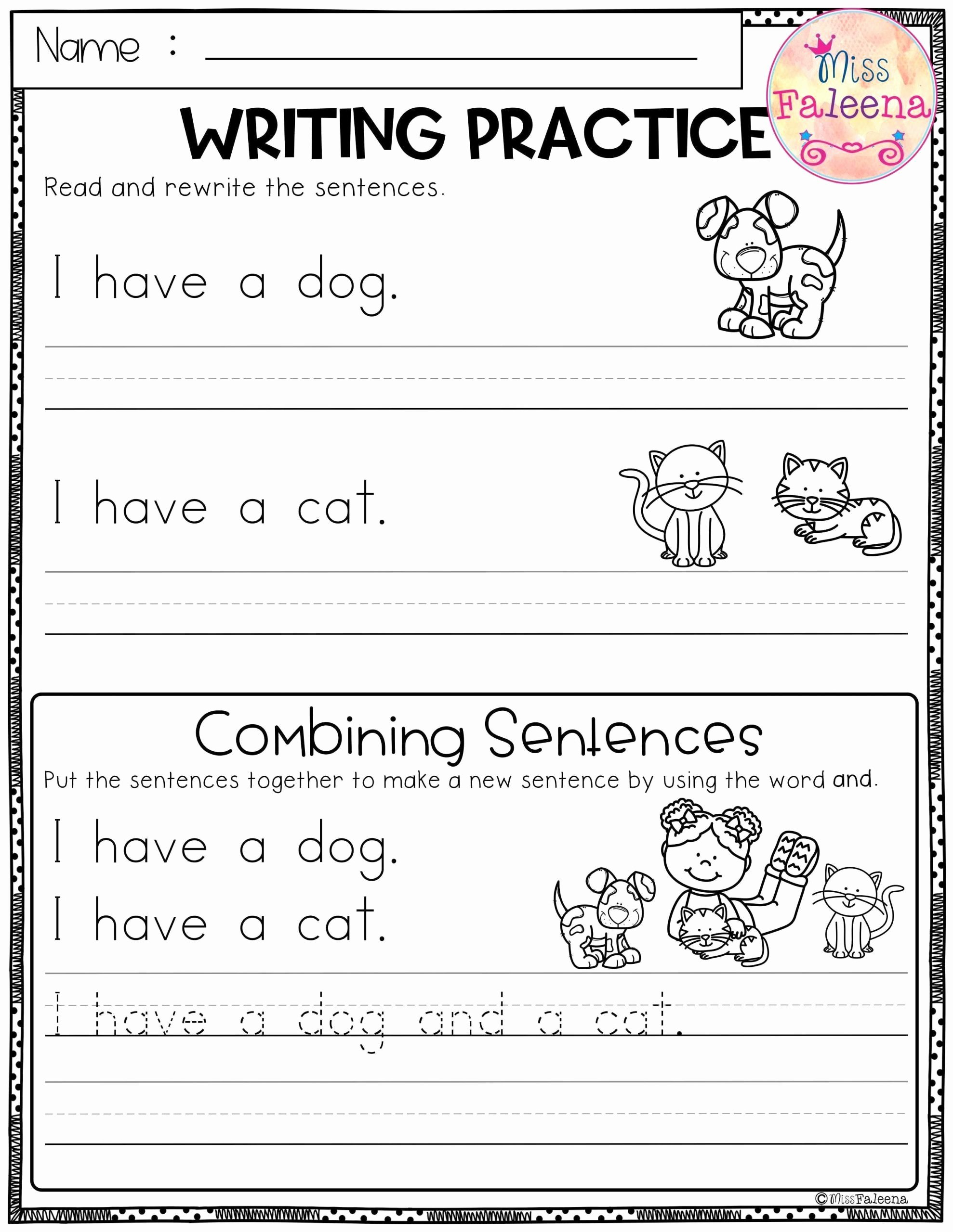 Kindergarten Sentence Writing Practice Worksheets Free Pin On Printable Worksheet for Kindergarten