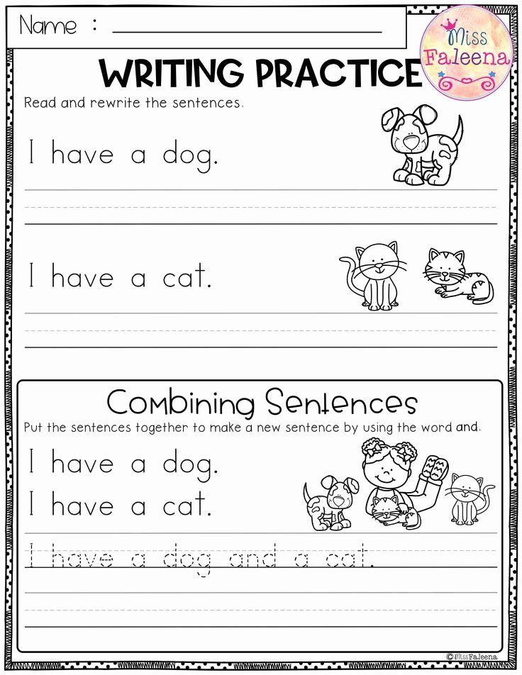 Kindergarten Sentence Writing Practice Worksheets Fresh Free Writing Practice Bining Sentences This Product