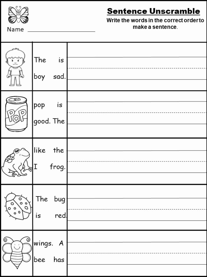 Kindergarten Sentence Writing Practice Worksheets Kids Free Kindergarten Short Worksheet Archives Kindermomma