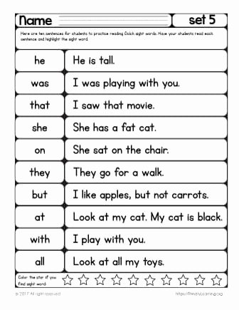 Kindergarten Sight Word Sentences Worksheets Best Of Sight Words Reading Practice List 5