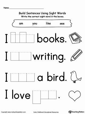Kindergarten Sight Word Sentences Worksheets Kids Sight Word Sentences Worksheets