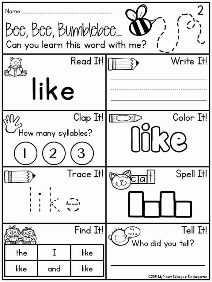 Kindergarten Sight Words Worksheet Free Free Pin Kindergarten Sight Word Worksheets Dr Mikes Math