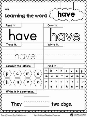 Kindergarten Sight Words Worksheet Free Fresh High Frequency Word Have Printable Worksheet