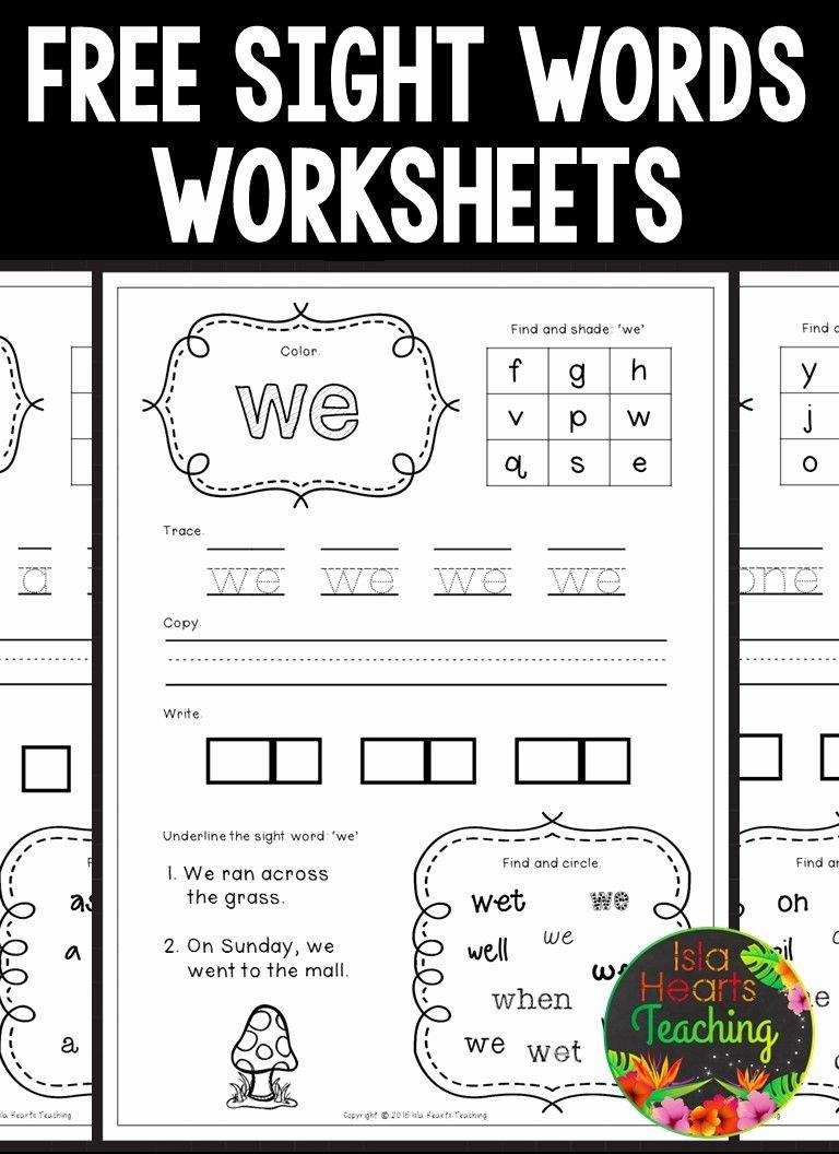 Kindergarten Sight Words Worksheet Free New Free Sight Words Worksheets Kindergarten